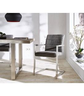 Jídelní Židle Next Šedá Vintage s Opěrkami Nerez