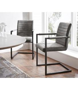 Jídelní Židle Next Šedá Vintage s Opěrkami Kov