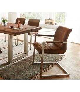 Jídelní Židle Next Hnědá Vintage s Opěrkami Nerez