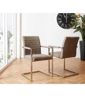 Jídelní Židle Next Taupe Vintage s Opěrkami Nerez