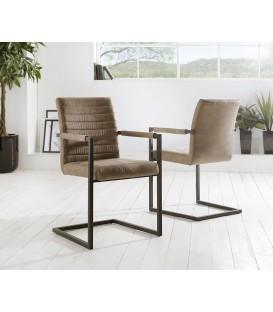 Jídelní Židle Next Taupe Vintage s Opěrkami Kov