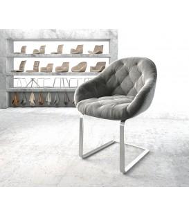Jídelní Židle Tai Šedá Samet Nerez