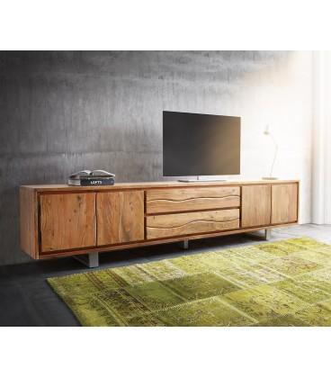 Televizní stolek Live 300 cm Akácie Přírodní 4 Dvířka 2 Šuplíky