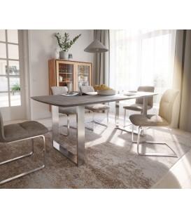 Jídelní Stůl Tvar Lodi 200x100 Mango Hnědá Vintage Nohy Nerez Úzké