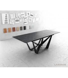 Jídelní Stůl Lamino 180/220x90 cm Rozkládací Keramika Šedá Ocel Plochá Černá