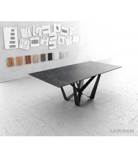 Jídelní Stůl Lamino 200x100 cm Keramika Šedá Ocel Plochá Černá