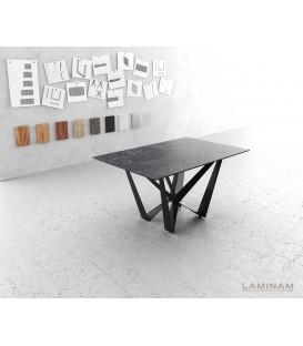 Jídelní Stůl Lamino 140x90 cm Keramika Šedá Ocel Plochá Černá