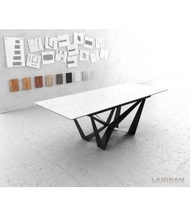 Jídelní Stůl Lamino 180/220x90 cm Rozkládací Keramika Bílá Ocel Plochá Černá
