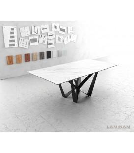 Jídelní Stůl Lamino 200x100 cm Keramika Bílá Ocel Plochá Černá