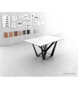 Jídelní Stůl Lamino 140x90 cm Keramika Bílá Ocel Plochá Černá