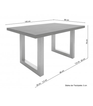 Jídelní Stůl Curved 140x90 Akácie Hnědá Nohy Široké