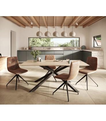 Jídelní Set Adesa 180x90 Vzhled Dubu Švýcarská Hrana Středová Noha + 4 Židle Hnědá Vintage