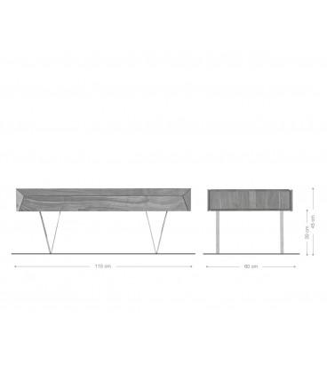 Konferenční stolek Design Kamenina 117x60 cm Akácie Přírodní