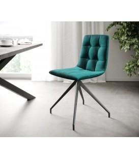4-Dílný Set Jídelní Židle Karo-Adesa Petrol Křížová Noha Kónická