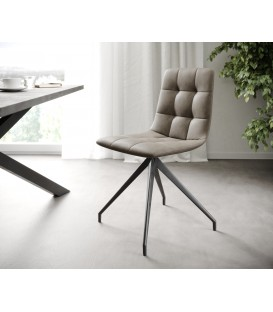 4-Dílný Set Jídelní Židle Karo-Adesa Taupe Vintage Křížová Noha Kónická