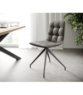 4-Dílný Set Jídelní Židle Karo-Adesa Antracit Vintage Křížová Noha Kónická