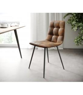 4-Dílný Set Jídelní Židle Karo-Adesa Hnědá Vintage 4 Kónické Nohy