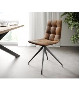 4-Dílný Set Jídelní Židle Karo-Adesa Hnědá Vintage Křížová Noha Kónická