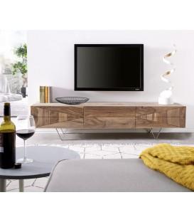 Televizní Stolek Viat X 175 cm Sheesham Přírodní 3 Dvířka